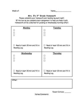 Weekly Homework Template, Editable Homework Cover Page, Homework Packet Cover