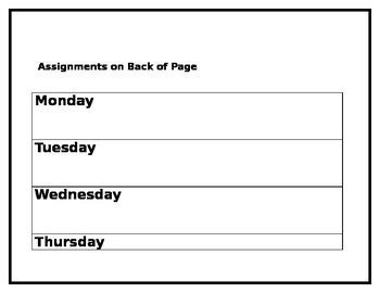 Homework Template K-3