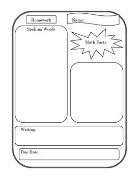 Homework Template Primary Grades