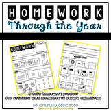 Homework Through the Year for Special Ed