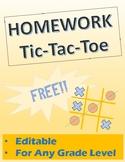 Homework Tic-Tac-Toe FREE and EDITABLE!