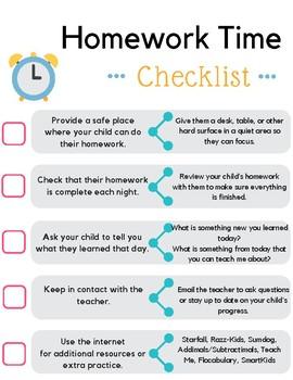 Homework Time Checklist