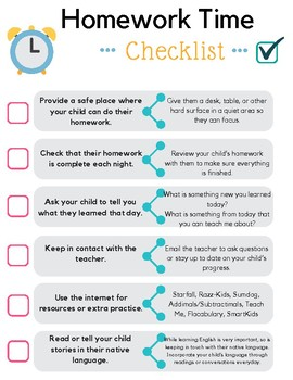 Homework Time Checklist ELL Parent Resource