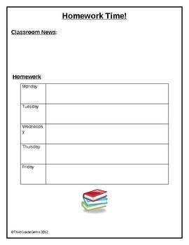 Homework Time!!!   Homework Sheet
