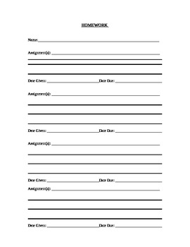Homework Tracker Sheet