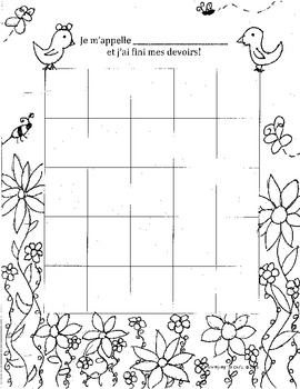 Homework Tracker Sticker Chart for French Class