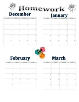 Homework Tracking Calendar 2015-2016