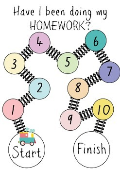 Homework Tracking Reward Chart Colour