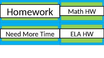 Homework Tub Labels - Lime & Teal - Version 2