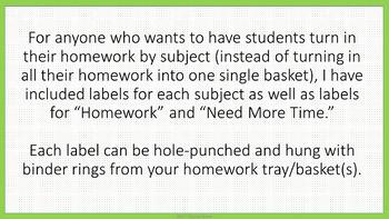 Homework Tub Labels - Lime & White Mini-Polka Dots