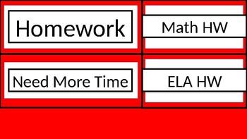 Homework Tub Labels - Red & White