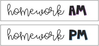 Homework Turn-In Bin Labels • Editable