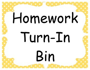 Homework Turn In Label