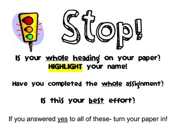 Homework Turn-In STOP Sign
