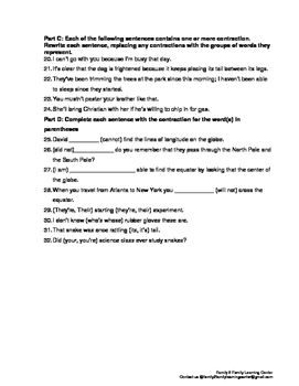 Homework-Using Contractions
