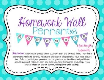 Homework Wall Pennants Decoration Banner