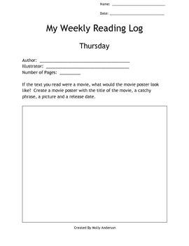 Homework Weekly Reading Log