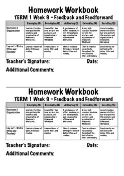 Homework Workbook - Marking and Expectations File