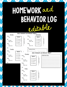Homework and Behavior Log (EDITABLE)