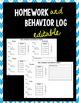 Homework and Behavior Log (EDITABLE)
