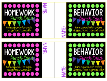 Homework and Behavior Punch Cards