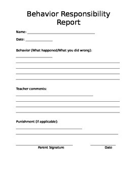 Homework and Behavior Responsibility Report