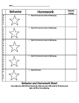 Homework and Behavior Sheet