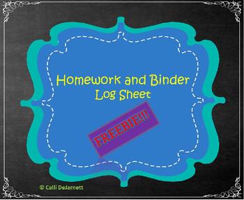 Homework and Binder Folder Log Sheet