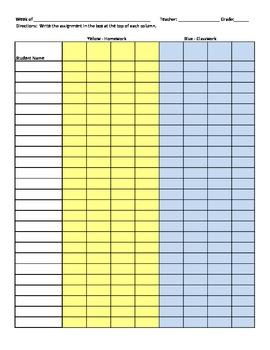 Homework and Classwork Check Sheet