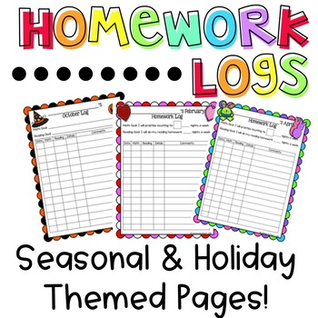 Homework and Goal Logs (Holiday Themed)