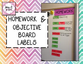 Homework and Objective Board Labels