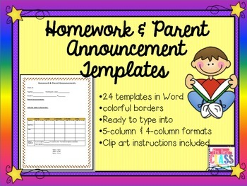 Homework Templates Monthly Themed for the Whole Year (Editable with MS Word)