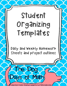 Homework and Project Student Organizing Templates, Support