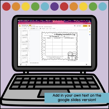 Homework and Reading Logs  *PDF and Editable*