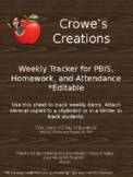 Homework, attendance, PBIS tracker
