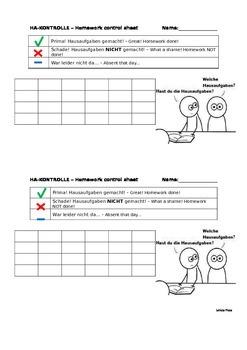 Homework control sheet for German