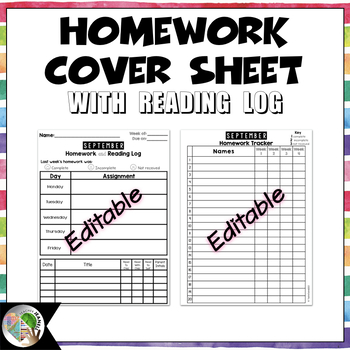 Homework Cover Sheet with Reading Log - Editable (Back to School Activities)