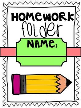 Homework communication folder cover sheet (pencil design) back to school