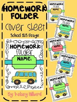 Homework communication folder cover sheet (school bus design) back to school