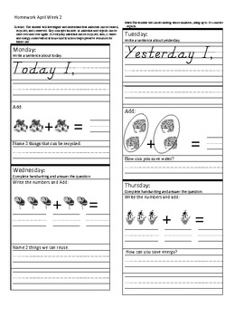 Homework for April - Kindergarten
