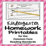 Homework for Common Core Reading Standards for Kindergarten
