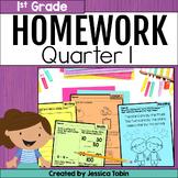 First Grade Homework- 1st Quarter Spiral Review Packets digital Google Slides