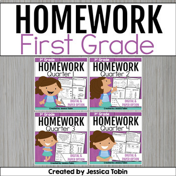 First Grade Homework- Year Long Bundle