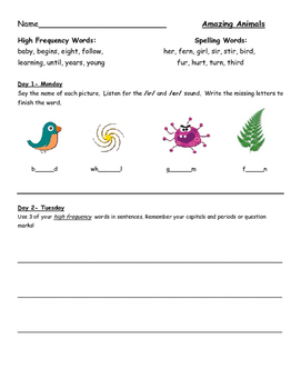 Homework for Journeys First Grade Lessons 1-25