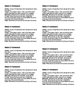 Homework for Kindergarten Week 17