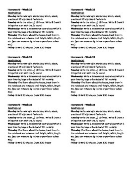 Homework for Kindergarten Week 25