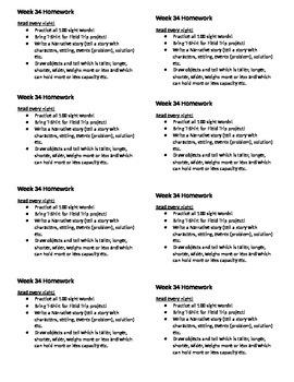 Homework for Kindergarten Week 34