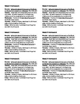 Homework for Kindergarten Week 9
