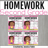 Second Grade Homework Spiral Review Bundle for the Year
