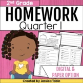 2nd Grade Homework- 1st Quarter Spiral Review Packets digital with Google Slides